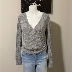 Francesca's Gray Wrap Knit Top